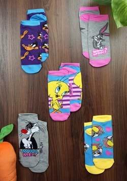 Ladies 5 Pack Looney Tunes Socks-0