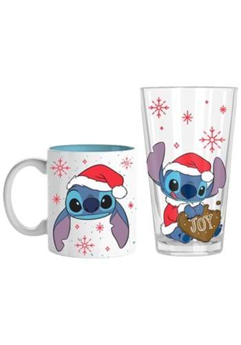 Lilo & Stitch Santa Hat Snowflakes Coffee Mug and Pint Glass