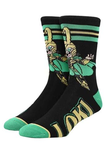 Adult Marvel Loki Chibi Crew Socks