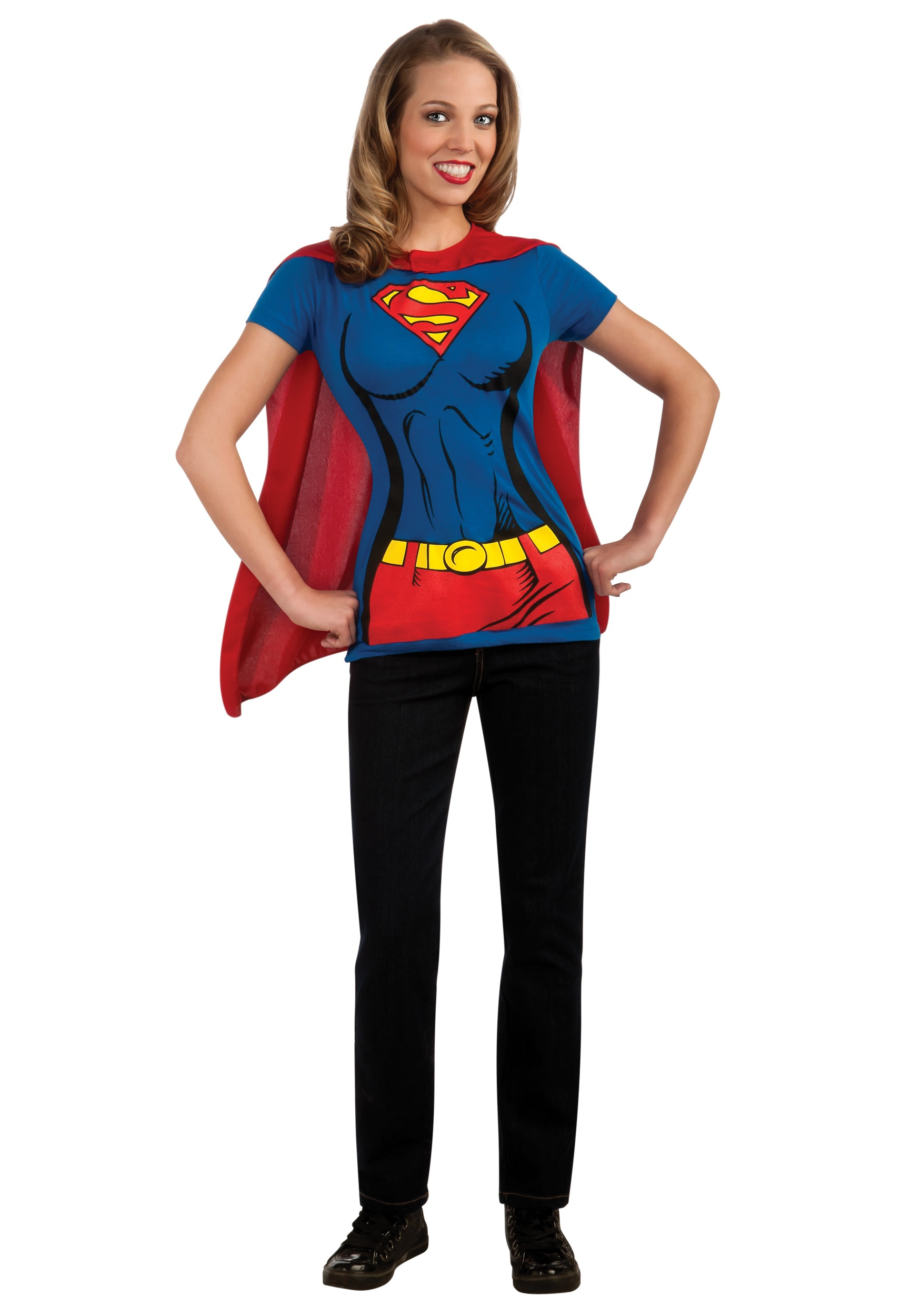 sc 1 st  Fun.com & Womens Supergirl T-Shirt with Cape Costume