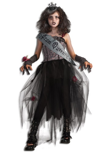 Girl's Goth Prom Queen Costume