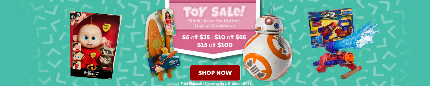 Toy Sale! Stock up on the hottest toys of the season $5 off $35 | $10 off $65 | $15 off $100 + Free Standard Shipping on US orders $65+