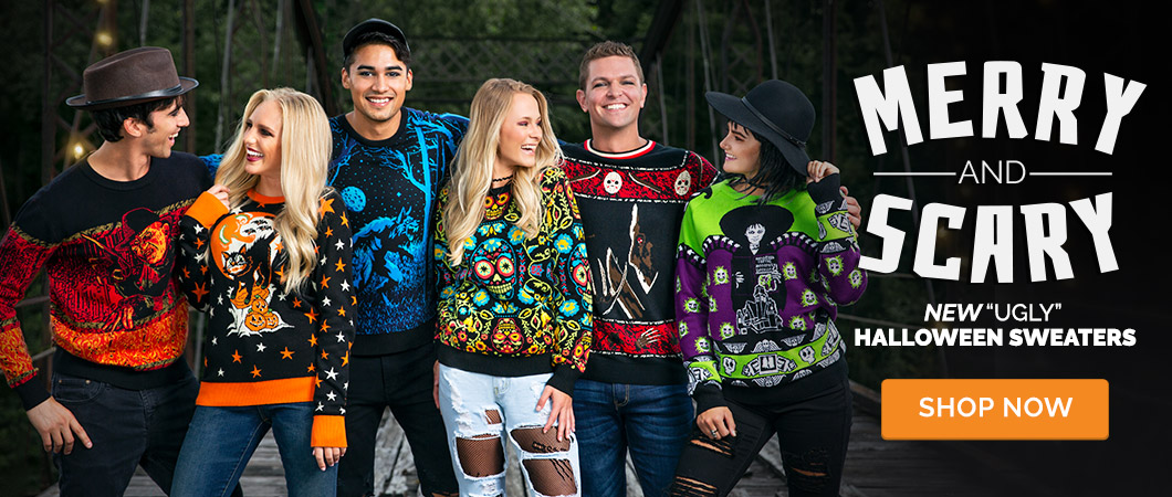 Merry and Scary. New Ugly Halloween Sweaters
