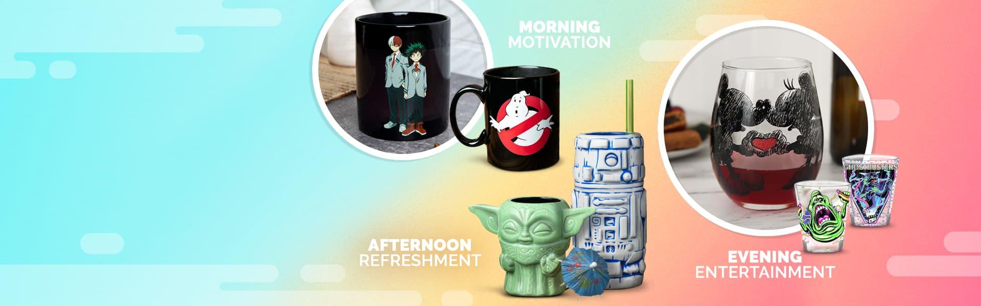 Drinkware: Mugs, Water Bottles, Glasses